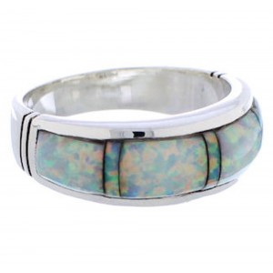 Opal Inlay And Genuine Sterling Silver Ring Size 7-3/4 ZX35582