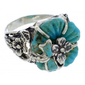 Turquoise Flower Dragonfly Sterling Silver Ring Size 4-3/4 EX23317