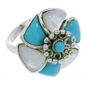 Southwest Turquoise Mother Of Pearl Flower Ring Size 8-1/2 EX23395