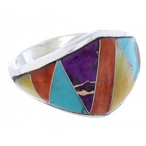 Sterling Silver Southwest Multicolor Inlay Ring Size 8-1/2 EX22469