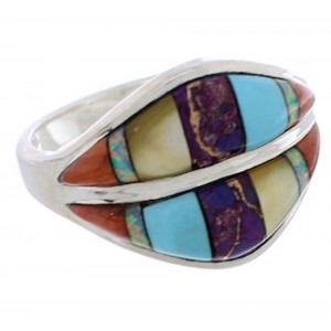 Silver Multicolor Jewelry Southwestern Ring Size 8-3/4 MX23390