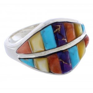 Silver Multicolor Jewelry Southwestern Ring Size 8-3/4 MX23462