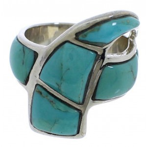 Turquoise Inlay Sterling Silver Ring Size 5-1/4 VX36455