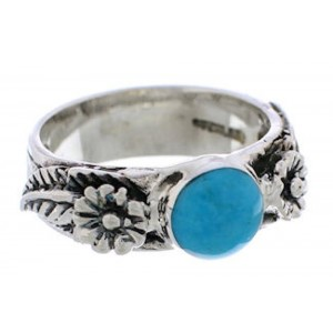 Sterling Silver Turquoise Flower Southwestern Ring Size 5-3/4 TX26907