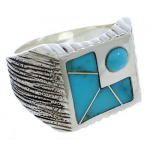 Authentic Sterling Silver Southwest Turquoise Ring Size 9-1/4 UX33191