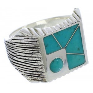 Southwestern Sterling Silver And Turquoise Ring Size 13 UX33216
