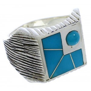Silver Southwest Turquoise Inlay Ring Size 13 UX33241