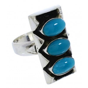 Turquoise And Silver Southwestern Ring Size 6 UX33255
