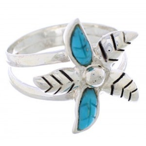 Turquoise Silver Flower Ring Size 8-1/2 FX22213