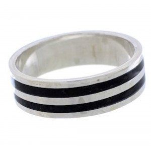 Onyx Inlay Sterling Silver Jewelry Ring Band Size 6-3/4 UX35502