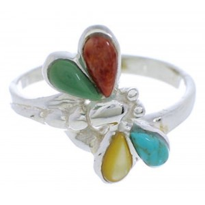 Dragonfly Silver Southwest Multicolor Inlay Ring Size 6-3/4 FX22691