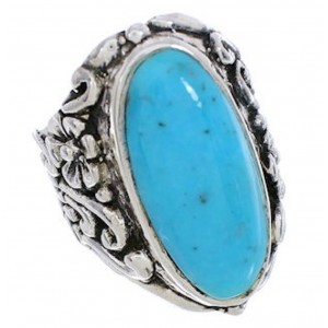 Southwest Turquoise Silver Flower Ring Size 5-1/4 YX34263