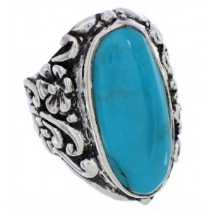 Turquoise Southwest Flower Silver Jewelry Ring Size 5-3/4 YX34295