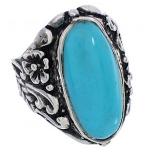 Turquoise Southwest Silver Flower Jewelry Ring Size 6-3/4 YX34356