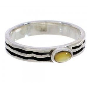 Stackable Silver Yellow Mother Of Pearl Ring Size 6-3/4 UX34663