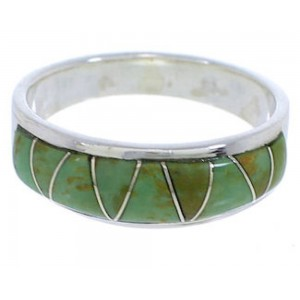Authentic Sterling Silver Turquoise Inlay Ring Size 7-1/4 UX36902