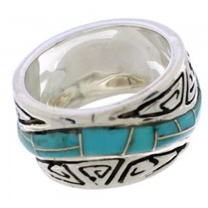 Southwest Turquoise Inlay Water Wave Silver Ring Size 6-3/4 EX40792