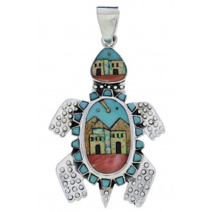 Multicolor Turtle Native American or Pueblo Design Pendant MX22270