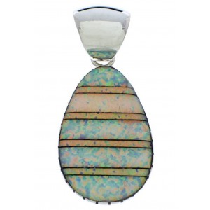 Genuine Sterling Silver Opal Inlay Pendant MX22277