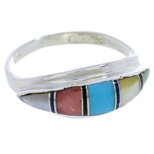 Multicolor Inlay Southwest Silver Ring Size 8-1/4 MX22449