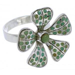 Flower Sterling Silver Turquoise Inlay Jewelry Ring Size 5 MX22490