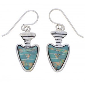 Southwest Turquoise And Opal Arrowhead Earrings EX32687