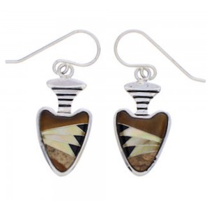Tiger Eye And Multicolor Silver Arrowhead Earrings EX32705