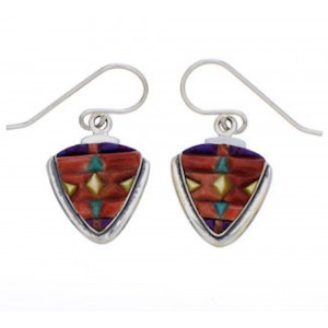 Multicolor Inlay And Silver Earrings EX32719