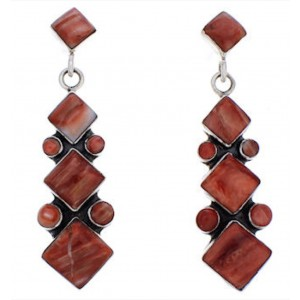 Red Oyster Shell And Silver Southwestern Earrings EX32390