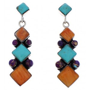 Southwest Multicolor And Sterling Silver Earrings EX32400