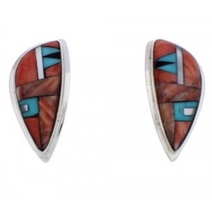 Multicolor Inlay Southwestern Silver Earrings EX32430