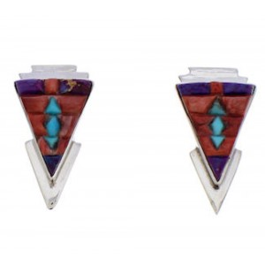 Multicolor Inlay Southwestern Silver Earrings EX32464