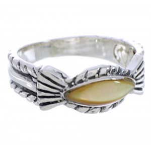 Sterling Silver Jewelry Yellow Mother Of Pearl Ring Size 7-1/4 WX35257