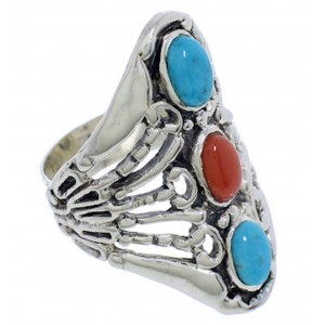 Turquoise Coral Sterling Silver Southwestern Ring Size 4-1/2 UX32918