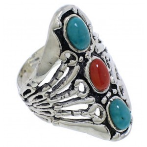 Sterling Silver Turquoise Coral Southwest Ring Size 5-1/2 UX32974