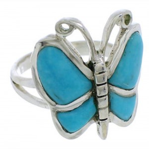 Sterling Silver Butterfly Turquoise Ring Size 5-1/2 AX87779