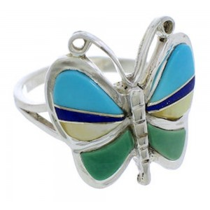 Butterfly Genuine Sterling Silver Multicolor Ring Size 6-3/4 UX33128