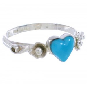 Southwestern Silver Turquoise Heart Flower Ring Size 5-3/4 UX34881