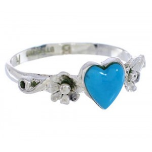 Silver And Turquoise Southwest Heart Flower Ring Size 5-3/4 UX34905