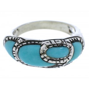 Southwest Silver And Turquoise Ring Size 6-1/2 JX37379