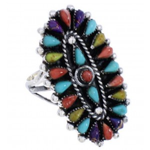 Multicolor Sterling Silver Needlepoint Ring Size 6-3/4 YX35249