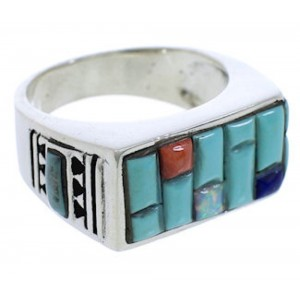 Genuine Sterling Silver Multicolor Ring Size 12-1/4 EX41566