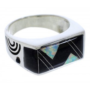 Opal And Black Jade Southwest Ring Size 11-1/2 EX41590