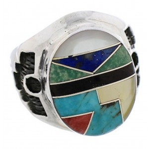 Silver Multicolor Southwest Inlay Ring Size 8-1/2 TX38706