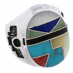 Authentic Sterling Silver Multicolor Inlay Ring Size 7-1/2 TX38730