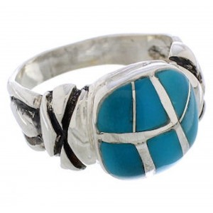 Southwestern Turquoise Inlay And Sterling Silver Ring Size 8 TX39935