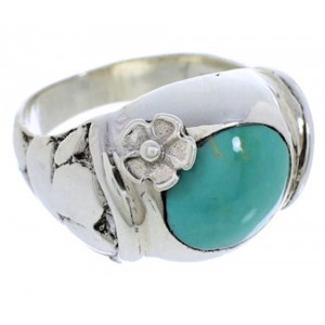 Southwest Flower Silver Turquoise Ring Size 7-1/2 UX33315
