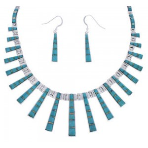 Turquoise Opal Inlay Southwestern Link Necklace Earrings Set PX38002