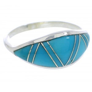 Authentic Sterling Silver Turquoise Ring Size 6-3/4 ZX36327