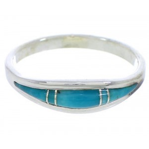 Genuine Sterling Silver Turquoise Jewelry Ring Size 5-1/4 ZX36867